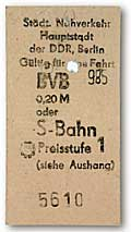 GDR (DDR) - East Berlin - Ticket for a underground ride