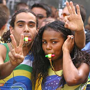 World Cup final celebration:  Brazilian couple