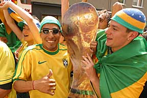 World Cup final celebration:  Happy Brazilians with world cup