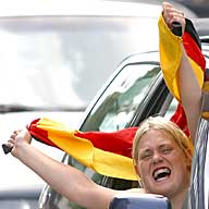 World Cup final celebration:  German fan in car